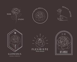 Hand-drawn linear rose flower logo collection vector