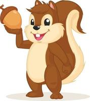 Ilustración de vector de mascota de personaje de dibujos animados de ardilla