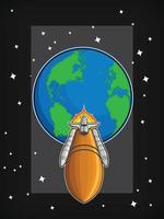 Flying Space Shuttle Orbit Launch Cartoon Illustration Vector
