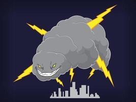 Hurricane Typhoon Thunder Storm Cloud Cartoon Vector Drawing