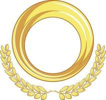 Frame Gold Circle Badge, Laurel Ornament Decorative Vector Drawing