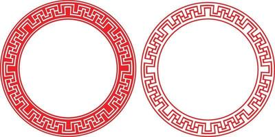 Chinese Frame, Asian Ornament Oriental Border Circle, Vector Drawing
