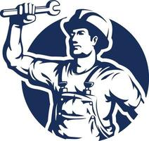 Handyman Silhouette, Mechanic, Technician, Electrician. Stencil Vector