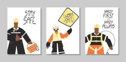 la seguridad primero industrial conjunto de carteles dibujados a mano vector