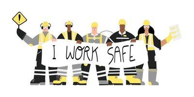 Trabajadores industriales con trabajo seguro signo vector