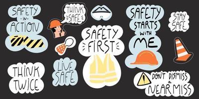 conjunto de letras dibujadas a mano de seguridad vector
