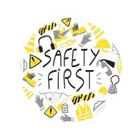 Safety first handwritten phrase clipart with PPE and safety tools vector