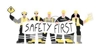 Construction Workers with Safety first sign vector