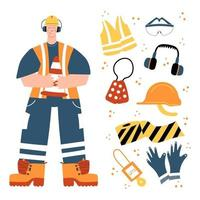 Road Worker holding traffic safety cone with safety equipment clipart vector