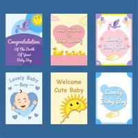 Cute Born Day Card vector