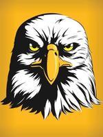 Eagle Falcon Hawk Head, Cartoon Front View, Vector Clipart Drawing