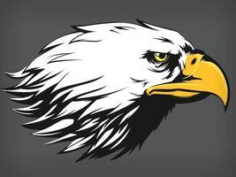 Eagle Falcon Hawk Head, Cartoon Side Profile View, Black Illustration vector