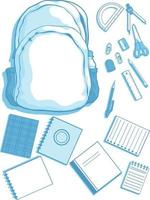 School Supplies Stationery Silhouette, Bag, Book Vector Clipart Drawing