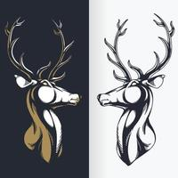 Silhouette of Deer Head Stencil, Isolated Vector Drawing