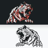 Silhouette of Tiger Roaring, Front View Stencil Isolated Vector Drawing