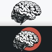 Silhouette of Brain Side Profile, Black Outline Stencil Vector Drawing