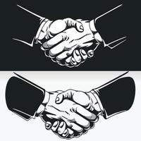 silueta de apretón de manos acuerdo comercial acuerdo de contrato, dibujo de la plantilla vector