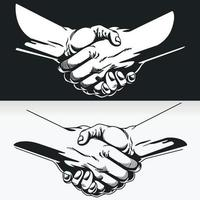 Silhouette of Hand Shake, Black Outline Illustration Stencil Drawing vector