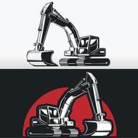 Silhouette of Construction Excavator, Stencil Vector
