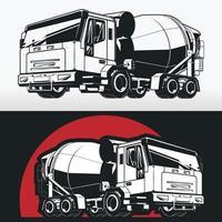 Silhouette of Concrete Mixer Cement Truck, Construction Vehicle Stencil vector