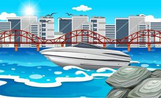 A speed boat in the river with city background vector