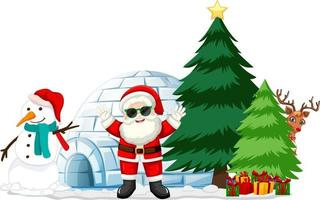 Santa Claus with many gifts and igloo on white background vector