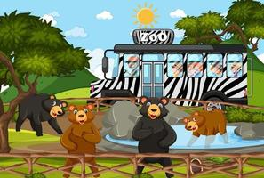 Children on tourist car watching bear group in the zoo scene vector