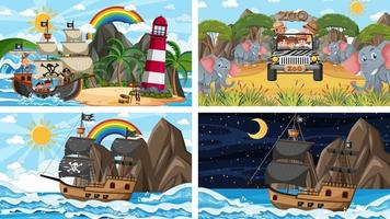 Conjunto de diferentes escenas con animales en el zoológico y barco pirata en el mar. vector