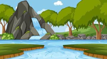 Escena de nuture con cascada en el bosque y el río. vector