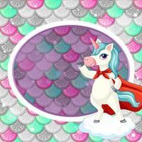 Plantilla de marco ovalado sobre fondo de escamas de peces de colores con un lindo personaje de dibujos animados de unicornio vector