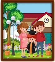 foto de familia feliz en un marco vector