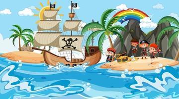 Treasure Island scene at daytime with Pirate kids vector