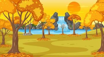 Autumn scene at sunset time with waterfall and many yellow trees vector