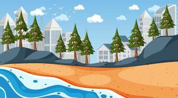 Beach scene with cityscape background vector