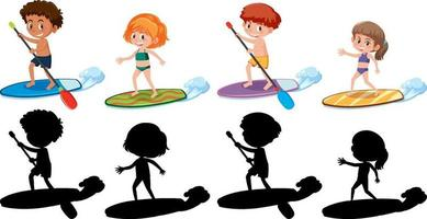 Set of different kids cartoon character in summer theme with silhouette vector