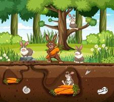 Underground animal burrow with rabbit family vector