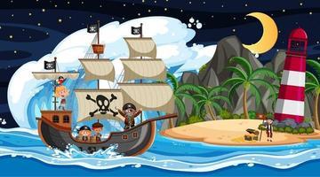 isla con barco pirata en la escena nocturna en estilo de dibujos animados vector