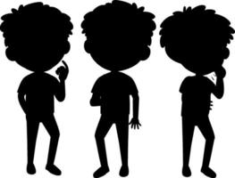 Cartoon character of kids silhouette on white background
