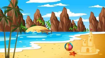 Tropical beach landscape scene with sand castle vector