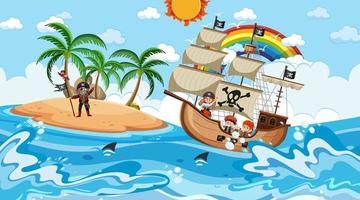 playa con barco pirata en la escena diurna en estilo de dibujos animados vector