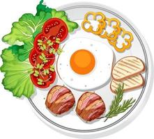 Top view of breakfast set on a dish isolated