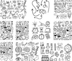 Set of object and symbol hand drawn doodle on white background vector