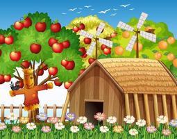 Farm scene with farmhouse and big apple tree vector