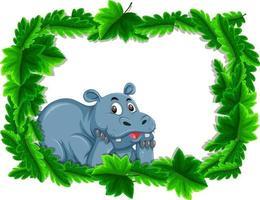 Banner vacío con marco de hojas tropicales y personaje de dibujos animados de hipopótamo vector