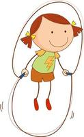 A doodle kid jumping rope cartoon character isolated vector
