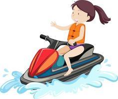 Una mujer conduciendo jet ski personaje de dibujos animados aislado sobre fondo blanco. vector