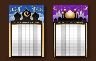plantilla de horario de ayuno islámico vector