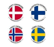 Set of four Danish, Finnish, Norwegian and Swedish stickers. Made in Denmark, Made in Finland, Made in Norway and Made in Sweden. Simple icons with flags isolated on a white background vector