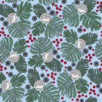 Floral seamless pattern. Flowers and berries tile background vector