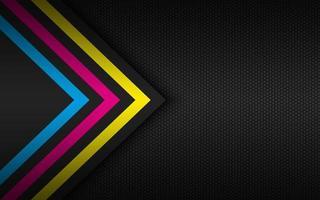 Fondo de tecnología moderna con flechas cmyk y cuadrícula poligonal. fondo abstracto de pantalla ancha vector
